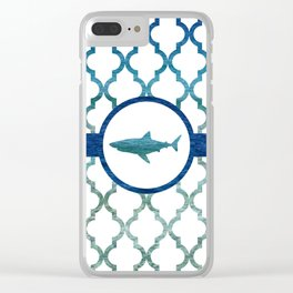 Shark: Tropical Water Moroccan Pattern Clear iPhone Case