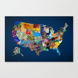 USA Map Canvas Print