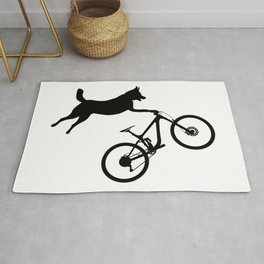 funny MTB mountain bike cycling dog lover gift Rug