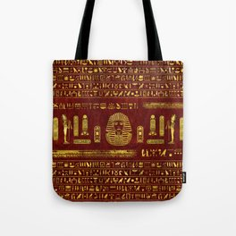 Golden Egyptian Sphinx on red leather Tote Bag