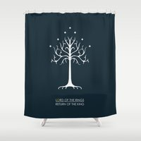 the lord of the rings Shower Curtains featuring Lord Of The Rings ROTK by Jamesy