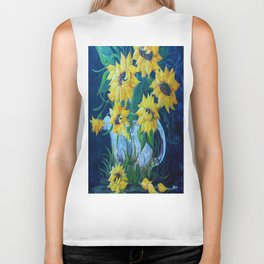 Sunflowers in a Country Pot Biker Tank