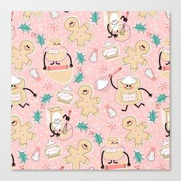 Baking Gingerbread - Retro Pink Canvas Print