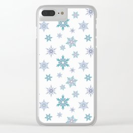 Fishnet blue snowflakes on a white background. Clear iPhone Case