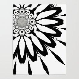 The Modern Flower White & Black Poster