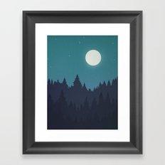 Tree Line - Turquoise Framed Art Print
