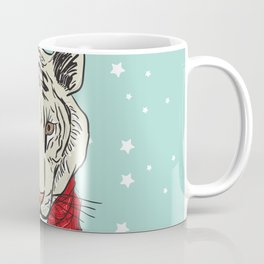 Merry Christmas New Year's card design Tiger head in a red knitted sweater and a scarf. Sketch Coffee Mug
