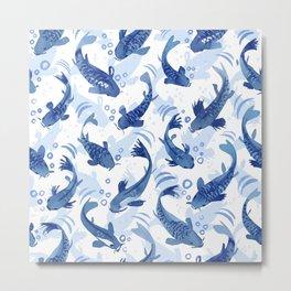 Koi Fish Dance / blue watercolor Metal Print