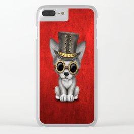 Steampunk Baby Wolf Cub Clear iPhone Case