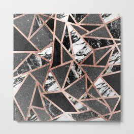 Modern Rose Gold Glitter Marble Geometric Triangle Metal Print