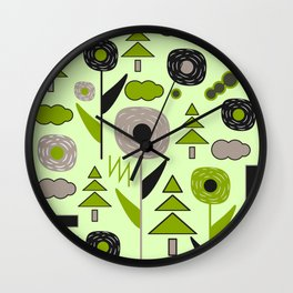 Flowers on a rainy day Wall Clock