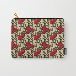Pomegranate - Red and Green Doodle Pattern with Cream Background Carry-All Pouch