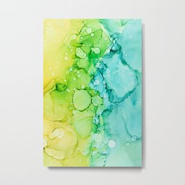 Alcohol Ink abstract in yellow, aqua, green, blue Metal Print