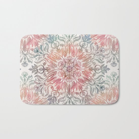 Autumn Spice Mandala in Coral, Cream and Rose Bath Mat