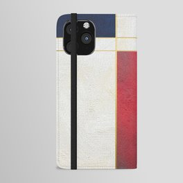 Blue, Red And White With Golden Lines Abstract Painting iPhone Wallet Case