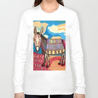 donkey Long Sleeve T-shirts featuring 'HOLA' Donkey by Anton Pereponov