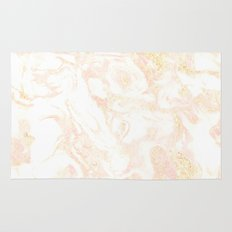 White Marble Pastel Pink and Gold by Nature Magick Rug
