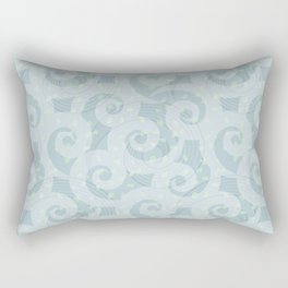 Spiral wave pattern in different hue of blue colour Rectangular Pillow