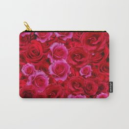NATURE ART OF BED OF RED & PINK ROSE FLOWERS Carry-All Pouch