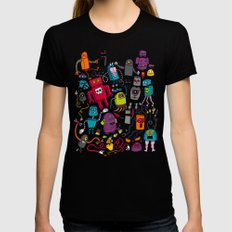 Robots 2 Black LARGE Womens Fitted Tee