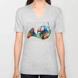 Colorful French Horn - Color Fusion By Sharon Cummings Unisex V-Neck