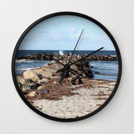 Breakwater at the Baltic beach - Wellenbrecher am Ostseestrand  Wall Clock