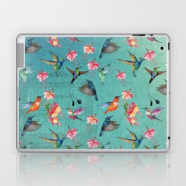 Vintage Watercolor hummingbirds and fuchsia flowers Laptop & iPad Skin