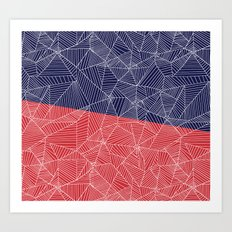 Spiderwebs - Webs on Red and Navy Blue Art Print