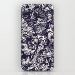 Indigo butterfly photograph duo tone blue and cream iPhone Skin