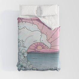 Flower Wave Teal&Pink Duvet Cover