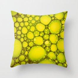 Yellow Oil Blobs on Water Throw Pillow