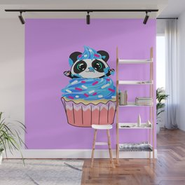 A Panda Popping out of a Cupcake Wall Mural