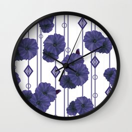 Blue flowers on striped white background Wall Clock