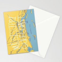 Mississippi Gulf Coast Map Stationery Cards