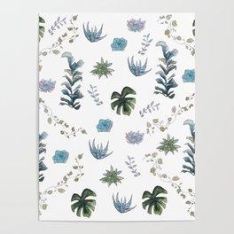 Indoor plant pattern Poster