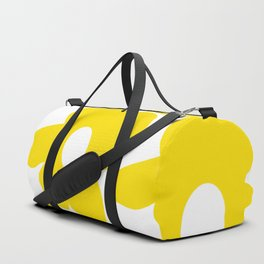 Large Yellow Retro Flowers on White Background #decor #society6 #buyart Duffle Bag