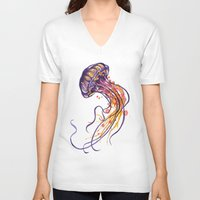 jellyfish V-neck T-shirts featuring Jellyfish by Sam Nagel