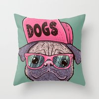 dogs Throw Pillows featuring Dogs by Lime