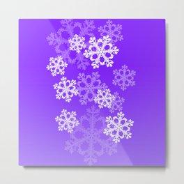 Cute purple snowflakes Metal Print