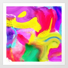 Modern bright neon psychedelic abstract brushstrokes paint Art Print