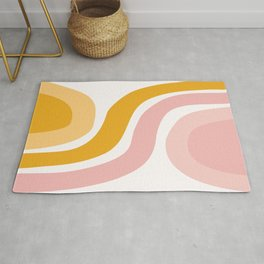Abstract Shapes 41 in Mustard Yellow and Pale Pink Rug