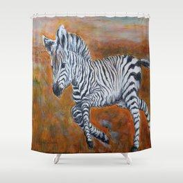 Zebra Freedom by Marianne Fadden Shower Curtain