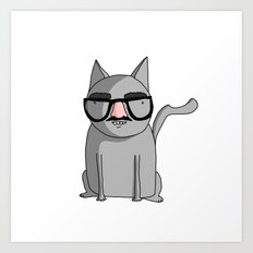 Cat with Groucho Glasses Art Print