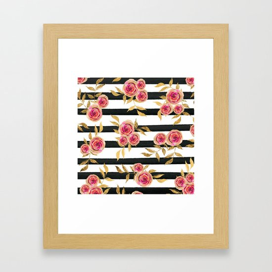 Girly Modern Pink Gold Flowers Black White Stripes by lafemmeart