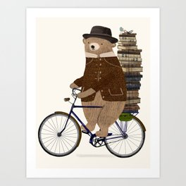 an educated bear Art Print