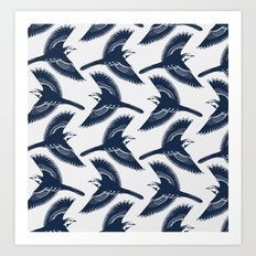 White Wagtails Pattern Art Print