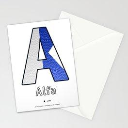 Alfa - Navy Code Stationery Cards