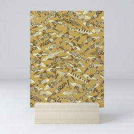 shark party gold Mini Art Print
