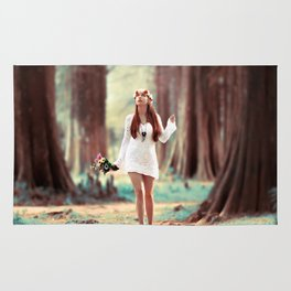 WOMAN - DRESS - WHITE - BOUQUET - FLOWERS - PHOTOGRAPHY Rug