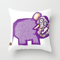 poop Throw Pillows featuring Elephant poop by Jamie Clayton